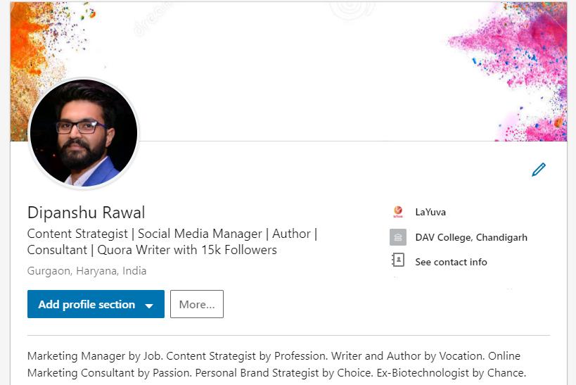 Dipanshu Rawal- LinkedIn Profile