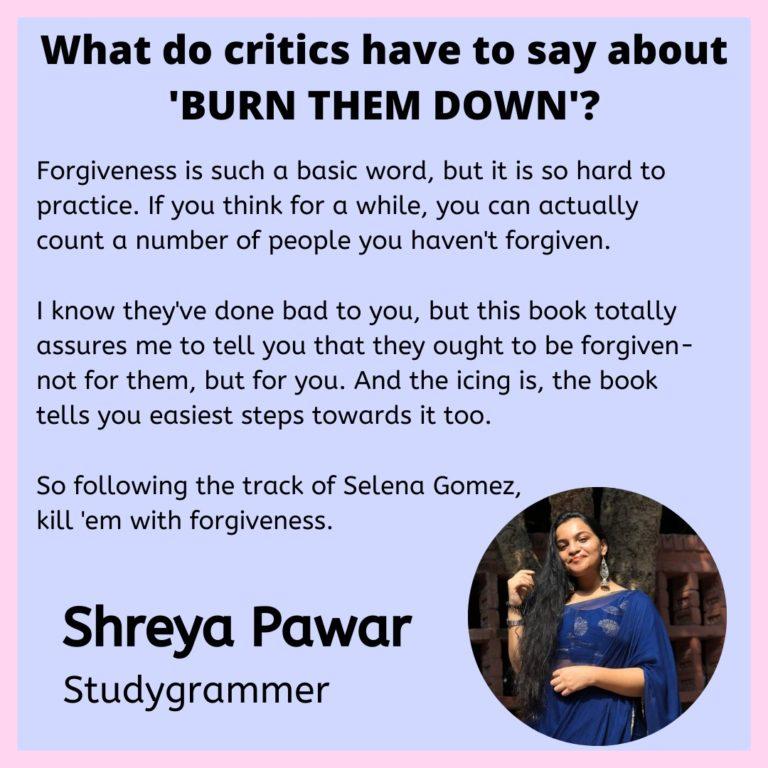 Burn them down - review by Shreya Pawar